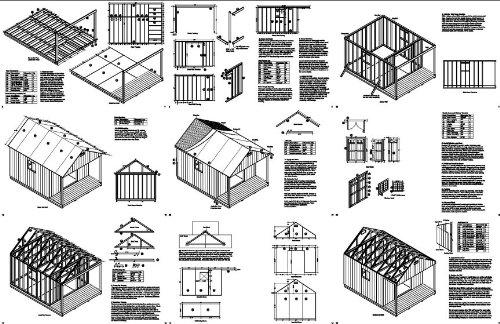 16' x 12' Cabin Loft Utility Shed with Porch Plans / Plueprint - Design #P61612