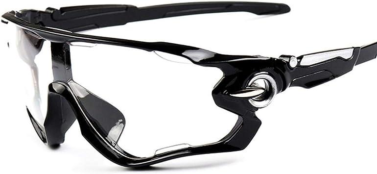 yejifs Thursday Abril UV400 Ciclismo Gafas de Sol Bicicleta Exterior Sports Bicicleta Unisex Gafas Gafas para Camping, Picnic y Otro Actividades Al Aire Libre - Brillante Negro Transparente Lentes: Amazon.es: Deportes y