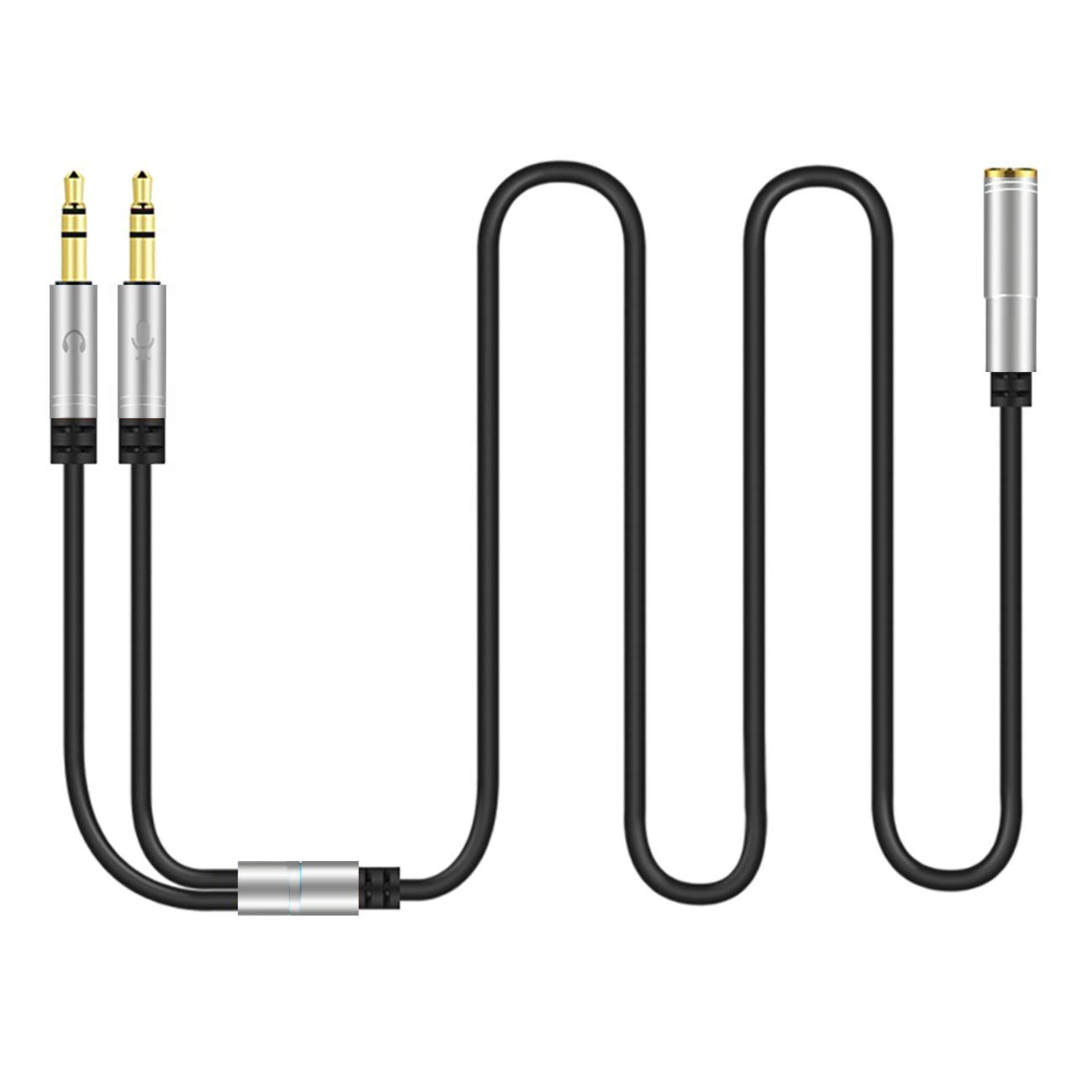 100CM, Silver Canfon Headphone Splitter for Computer 3.5mm Female to 2 Dual 3.5mm Male Headphone Mic Audio Y Splitter Cable Smartphone Headset to PC Adapter