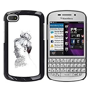PC/Aluminum Funda Carcasa protectora para BlackBerry Q10 ink portrait reading writer white deep / JUSTGO PHONE PROTECTOR