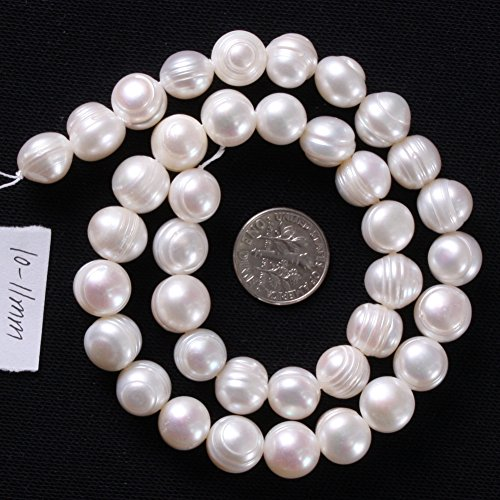 Joe Foreman Freshwater Cultured Pearl Beads for Jewelry Making Natural Gemstone Semi Precious 10-11mm White 15