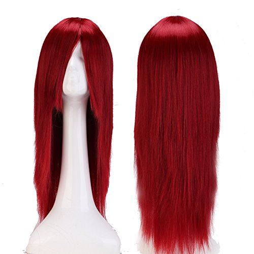 [Pyracin(TM) 24 Inch (60cm) Women Fashion Wine Red Cosplay Wig Long Straight Anime Party Dress Synthetic Full] (Dance Costumes Australia Suppliers)