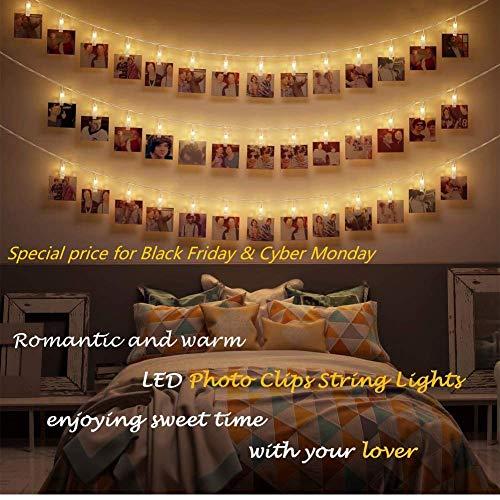 Card Holder Monkey (Photo Display Lights, 40 LED Photo String Lights with Clips for Picture Hanging Display, Indoor Fairy String Lights Pictures Cards Holder Lights for Bedroom Decoration)