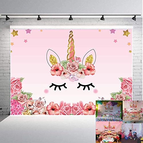 Qian Unicorn Themed Photo Backdrop Birthday Party Background Baby Shower Dessert Table 7x5ft