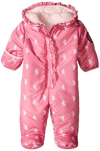 U.S. Polo Assn. Baby-Girls Ruffled Logo Print Puffer Pram, Berry Pink, 3-6 Months