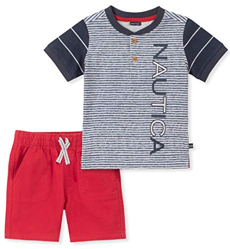 Nautica Baby Boys 2 Pieces Shorts Set, Navy/red/White, 6-9 Months