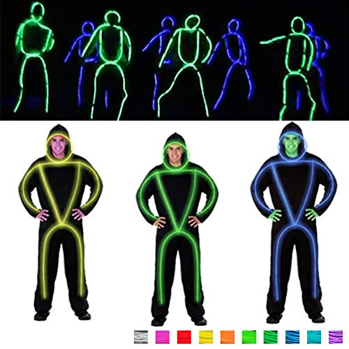 DHTW&R Glowing Clothes EL Cold Light Fluorescent Dance Show Costume Battery Powered Lights up in a Cool Bright -