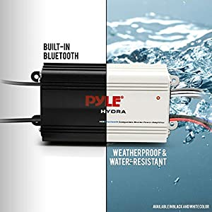 Pyle Auto 4-Channel Bridgeable Marine Amplifier - 200 Watt RMS 4 OHM Full Range Stereo with Wireless Bluetooth & Powerful Prime Speaker - High Crossover HD Music Audio Multi Channel System PLMRMB4CB