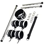 Moonight Restraints Spreader Bar With Cuffs Steel Bar Position Bondage For Legs Adjustable Restraint Kits Exercise aid Tool For Couples