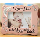 i love you to the moon and back picture frame stars with saying on a pink ceramic frame anniversary gift new mom gift for 4x6 inch