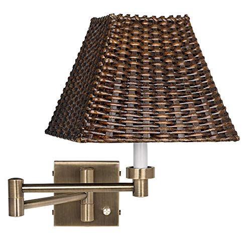 Brown Wicker Shade Antique Brass Plug-in Swing Arm Wall Lamp - Barnes and Ivy ()