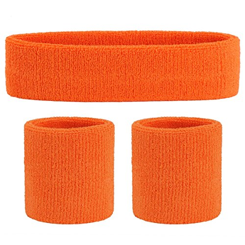 OnUpgo Sweatband Set Sports Headband Wrist Striped Sweatbands Terry Cloth Wristband Athletic Exercise Basketball Wrist Sweatband and Headbands Moisture Wicking Sweat Absorbing Head Band ()