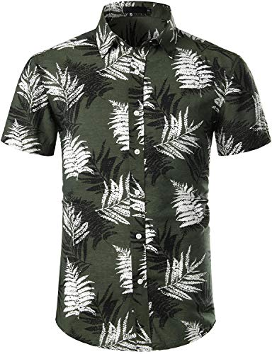 ZEROYAA Summer Men's Tropical Leaf Casual Button Down Short Sleve Hawaiian Shirts BTS01-Army Green/Palm Leaf Small