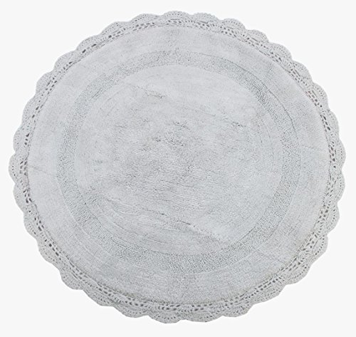 WARISI - Round Crochet Collection - Designer, Plush Cotton Rug (36 inches, Light Grey) (Round Rug Crochet)
