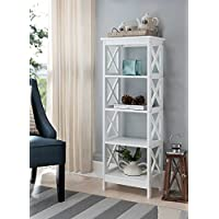 5-tier White Wood Bookshelf Bookcase Display Media Cabinet