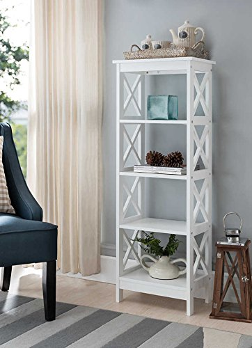 5-tier White Wood Bookshelf Bookcase Display Media Cabinet & Amazon.com: 5-tier White Wood Bookshelf Bookcase Display Media ...