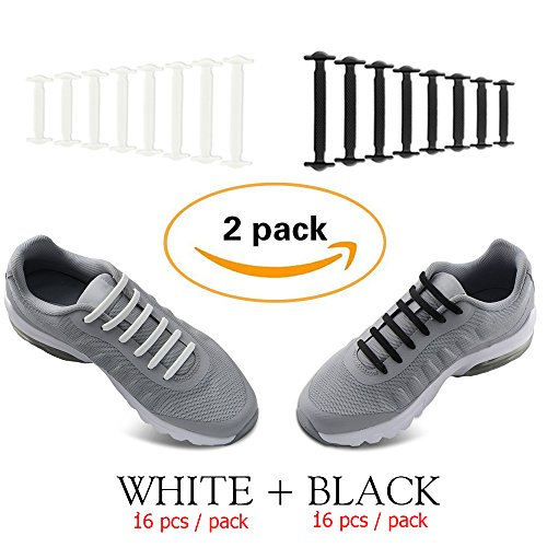 No Tie Shoelaces for Men and Women - Best in Sports Fan Shoelaces – Waterproof Silicon Flat Elastic Athletic Running Shoe Laces with Multicolor for Sneaker Boots Board Shoes and Casual (Black + White)