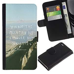 Be Good Phone Accessory // Caso del tirón Billetera de Cuero Titular de la tarjeta Carcasa Funda de Protección para Apple Iphone 4 / 4S // Mountain Conquer High Inspiring Motivational
