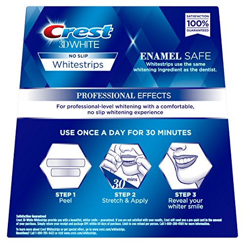 Crest 3D White Professional Effects Whitestrips Dental Whitening Kit, 20 Treatments - Packaging May Vary