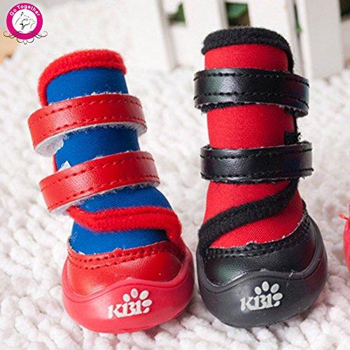 Black 4 Black 4 365Cor(TM) 4pcs lot Luxury Leather Waterproof Dog Boots Anti Skid Puppy Rain shoes Autumn Winter Pet Dog Sport shoes