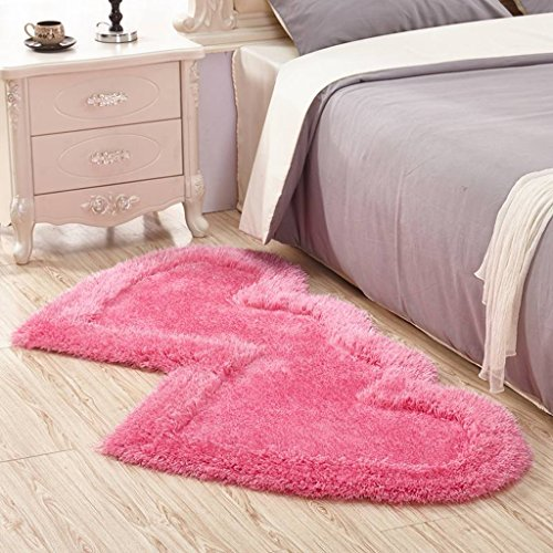 Carpet 3D Cute Double Heart-shaped Living Room Coffee Table Bedroom Bedside Carpet mat (Color : Pink, Size : 71141 cm(27.9555.51in)) -