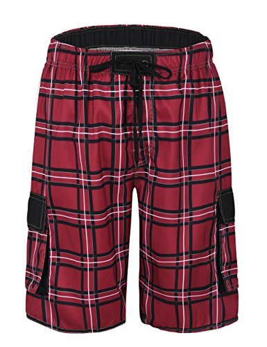 - Nonwe Men's Beach Shorts Quick Dry Plaid Drawsting with Lining Red 36