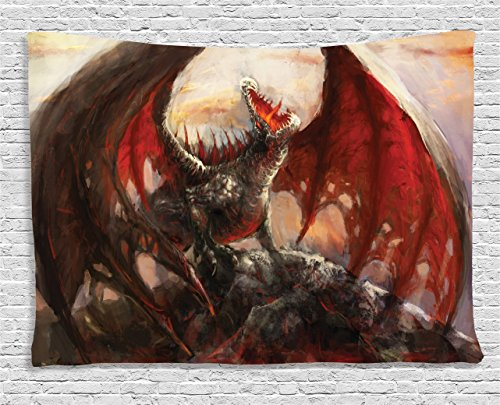 Fantasy World Decor Tapestry by Ambesonne, Majestic Dragon Resting on Mountain Top Mythological Fire-Spewing Creature Spooky Decor, Wall Hanging for Bedroom Living Room Dorm, 80 W X 60 L Inches, Multi