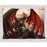 Fantasy World Decor Tapestry by Ambesonne, Majestic Dragon Resting on Mountain Top Mythological Fire-Spewing Creature Spooky Decor, Wall Hanging for Bedroom Living Room Dorm, 60 W X 40 L Inches, Multi