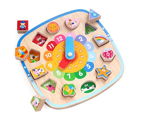 3 in 1 Wooden Shape Sorting Clock Puzzle with Magnetic Farm Blocks - by Kids Destiny by Kids Destiny