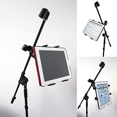 ChargerCity Music Mic Microphone Stand Tablet Mount with 360° Swivel Adjust Holder for Apple iPad Pro Air Mini Google Nexus Samsung Galaxy Tab 7 8 10 12 Surface Pro/Book (iPad & Stand is not included) (Apple Ipad Air Mount 360)