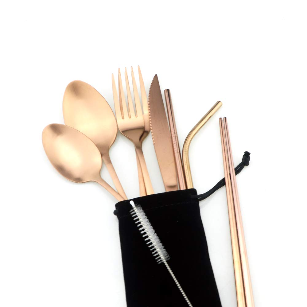 matte rose gold travel silverware set portable stainless steel cutlery set 8pcs ebay. Black Bedroom Furniture Sets. Home Design Ideas