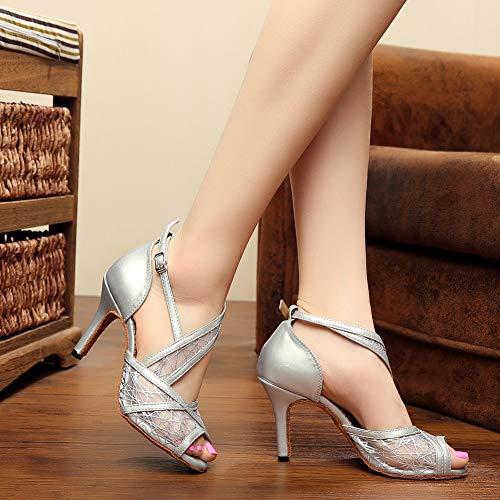 Xiaoy Tacones Cross Mujer Cuero Pu Latino De Alto Correa Mediados 8 Interior 5cm Baile Zapatos Silver5cm rraH1P
