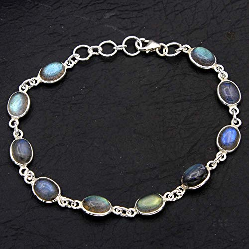 (Christmas Special Natural Labradorite Gemstone Earring 925 Sterling Silver Jewelry Designer Bracelet Handmade Jewelry Womens Bracelet Silver)