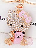 hello kitty car key chain - Elfstore 3D Luxury PINK Hello Kitty With Cute BEAR rhinestone keychain, Car key ring, Handbag Purse accessories Comes with Wooden Textured Charm as Free Gift