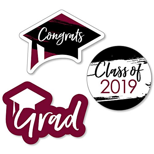 Maroon Grad - Best is Yet to Come - DIY Shaped Burgundy 2019 Graduation Party Cut-Outs - 24 Count