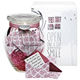 KindNotes Glass SYMPATHY Keepsake Gift Jar of Messages for Condolences, Bereavement, Passing, Loss, Funerals - Pink Damask