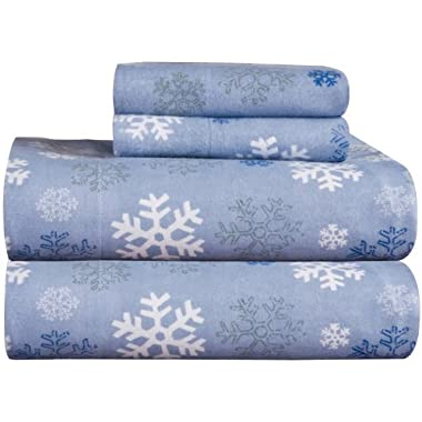 Pointehaven Heavy Weight Printed Flannel 100-Percent Cotton Sheet Set, Snow Flakes, Queen