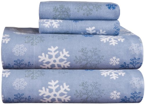 Pointehaven Heavy Weight Printed Flannel 100-Percent Cotton Sheet Set, Queen, Snow Flakes