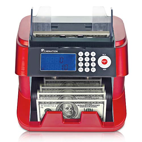 Bank Grade Bill Cash Counter by Carnation - Fast, User-Friendly Money Counting Machine - 4 Counterfeit Detection Functions (UV, MG, IR, DD) Works Worldwide - not a Denomination Counter