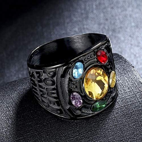 Valily Marvel Avengers Thanos Rings Stainless Steel Infinite Power Gauntlet Crystal Ring for Men Size 6-14