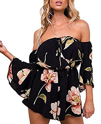 Lanzom Women Summer Retro Floral Off Shoulder Trumpet Sleeves Jumpsuit Romper (Black, Small)