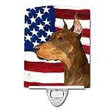 Caroline's Treasures USA American Flag with Doberman Night Light, 6'' x 4'', Multicolor