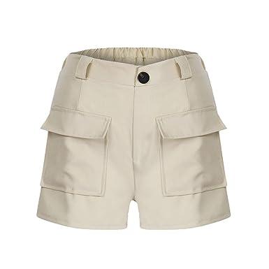44191c09b2 iHAZA Femme Pantalons Ete Femme Pantalons Taille Haute Femme Casual Grande Taille  Zipper Bande éLastique Hot