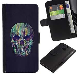 KingStore / Leather Etui en cuir / HTC One M8 / Cráneo Crayon colorido Noche Negro
