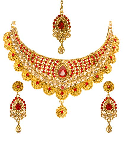 (Bindhani Women's Indian Jewelry Simple Bridal Bridemaids Party Wear Crafted Brides Gold Plated Kundan Polki Red Choker Necklace Earrings Tikka Fashion Bollywood Style Jewellery Set for Wedding)