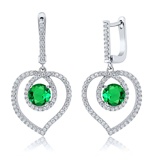 bd128006586 durable modeling 3.94 Ct Green Nano Emerald 925 Sterling Silver Heart  Dangling Earrings