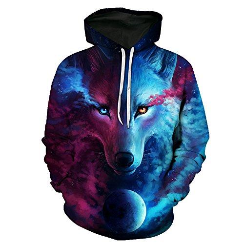 Hakjay Unisex 3D Printed Casual Pullover Hoodie Long Sleeve Hooded Sweatshirt-Lone Wolf -XXL (Snake Hoodie)
