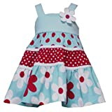 Rare Editions Baby/Infant Girls 12M-24M AQUA-BLUE RED WHITE TIERED FLORAL DOT PRINT Spring Summer Party Dress RRE-30720S-S130720-12M