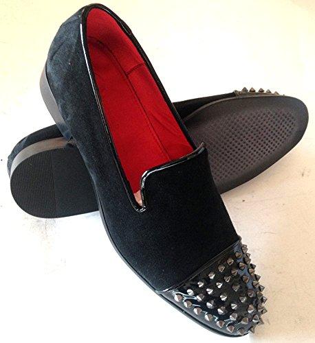 scarpe uomo, slippers, slip-on in camoscio/vernice nero con borchie