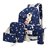 Clearance!Women Bags❤️COPPEN 4 Sets Cute Fashion Women Girl Rabbit Animals Travel Backpack School Bag Shoulder Bag Handbag (Blue)